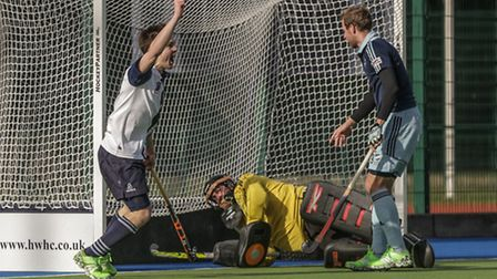 Iain Mackay celebrates after scoring Hampstead & Westminster's first goal against Reading on Sunday.