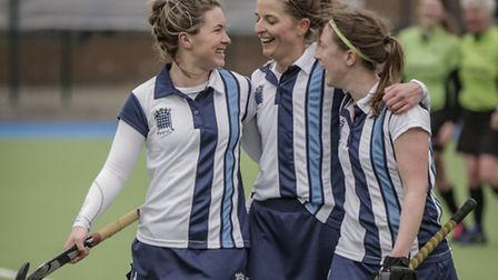 Left to right: Brodie Fairchild, Hayley Turner and Alice Garrad enjoy their victory over Slough. Pic