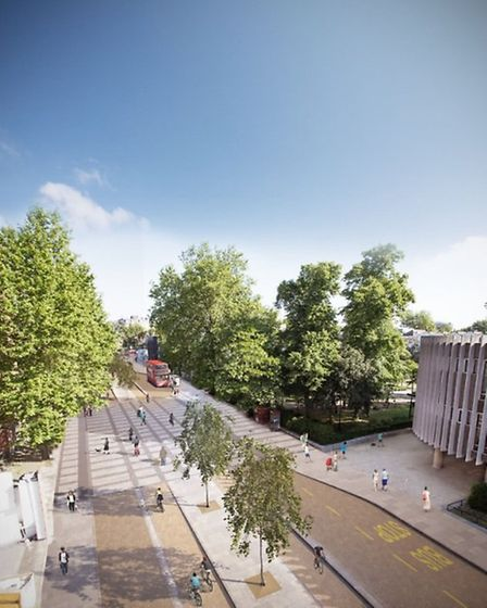 An artist's impression of the cycling superhighway in Avenue Road