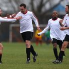 FC Stepney celebrate their first goal during a 3-1 win over Top Red in the Hackney & Leyton League.