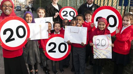 Haringey launch 20mph speed limit with children from West Green primary school Tottenham. Photo: Ni
