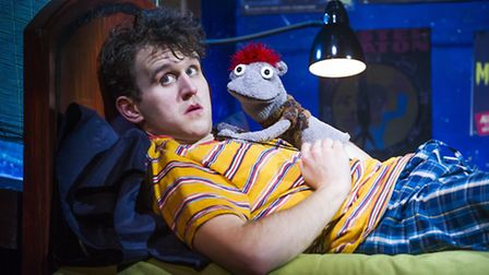 Harry Melling (Jason) and Tyrone in Hand To God by Robert Askins at the Vaudeville Theatre.