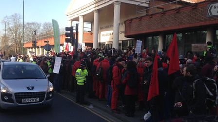 Protesters assemble outside Willesden Magistrate's Court, ahead of the sentencing today
