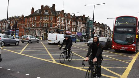 Cyclists navigate the junction