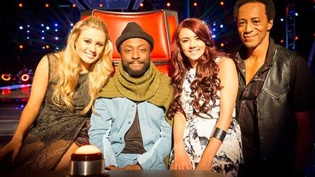 Lyrikal (right) who is through to the live final of The Voice, with will i am, and his other two con
