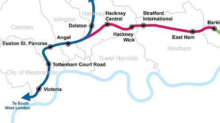 A map of the proposed eastern phase of Crossrail 2