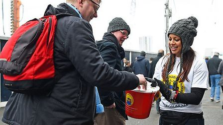 Noah's Ark volunteers collecting donations at the North London Derby on March 5.