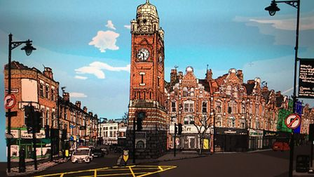 Zoom Rockman's drawing of the Crouch End clock tower