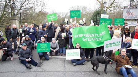 Residents held up oncoming traffic on Tuesday in protest at plans for the Mayor's Cycle Superhighway