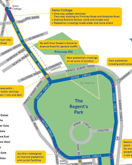 Under the cycle super highway plans Swiss Cottage traffic will be re-routed and four key gates to Re