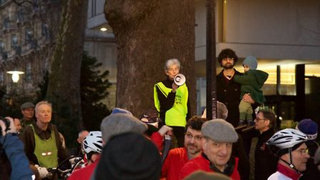 Angela Hobsbaum, coordinator of Camden Cyclists addresses crowds at a pro-CS11 rally in Regent's Pa