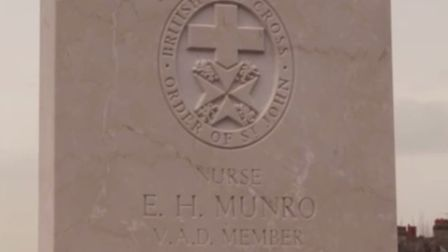 The headstone of Edith Hilda Munro. Picture: YouTube