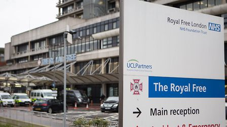 The entrance to the Royal Free Hospital