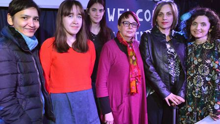 Refugees Welcome Haringey meeting at Hornsey Town Hall on 15.03.16. organisers from left, Urvashi Va