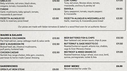 The menu at the Benugo run Regent's Bar and Kitchen in the Inner Circle.