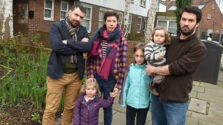 Toby Lloyd on the right with children Rosa and Alice, Emrys Schoemaker and Amy Scaife with Juno Scai
