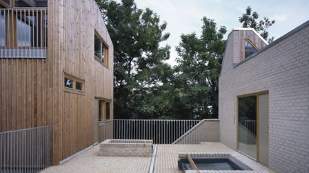 The northeast corner of the central courtyard at Copper Lane, Stoke Newington, London's first co-hou