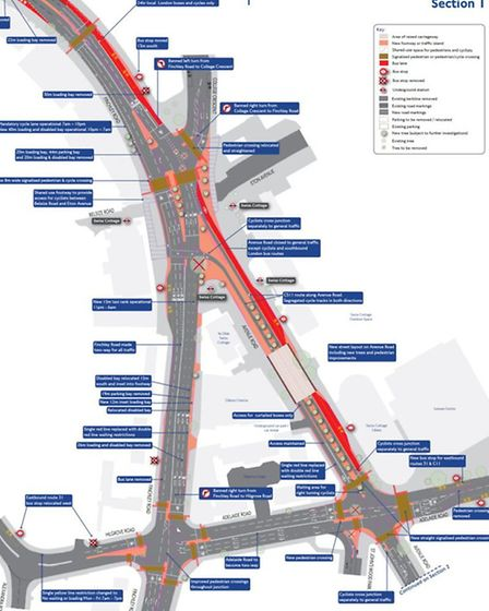 A map showing the changes proposed in Swiss Cottage (Picture: TFL)