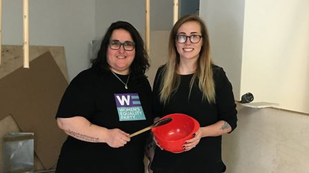 Chris Paouros (L) in the building Luminary Bakery hopes to convert (Picture: Women's Equality Party)