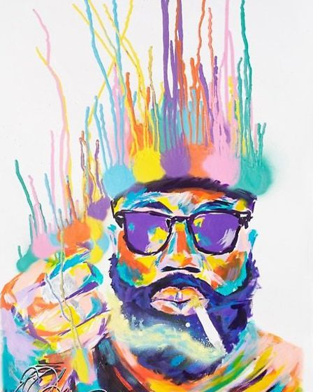 A painting of Justin Smith Uzomba, aka Mikill Pane