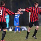Callum Jones (right) celebrates his second goal for South London Sharks in their Hackney & Leyton Su