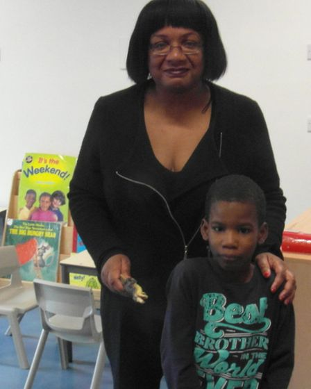 Labour MP Diane Abbott and a pupil of The Garden School