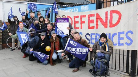 Striking teachers at Brooke House sixth form college