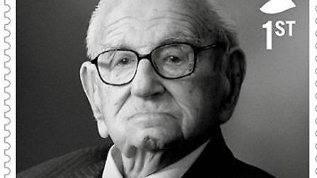 The stamp features a black and white portrait of Sir Nicholas Winton, dubbed the 'British Schindler'