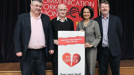 Andy Furey, John Batt, MP Catherine West, Cllr Stephen Mann (left to right.) Photo: Dieter Perry