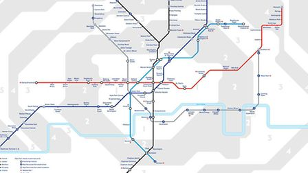 The Night Tube map showing which services will run all night