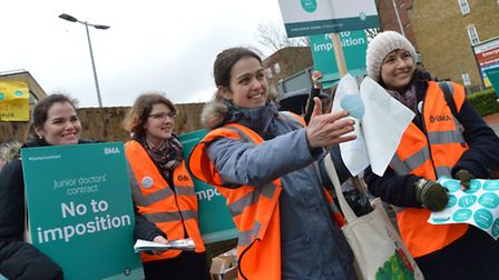Junior doctors on strike at the Whittington Hospital