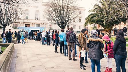 People queue to register to vote at Hackney Town Hall, photo © Mikael Buck / Ben & Jerry's