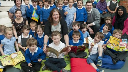 Staff and pupils at Abacus, including headteacher Vicki Briody (centre), celebrate the news that the