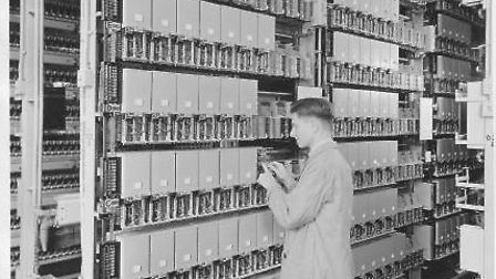 A worker inside the exchange in the 1960s
