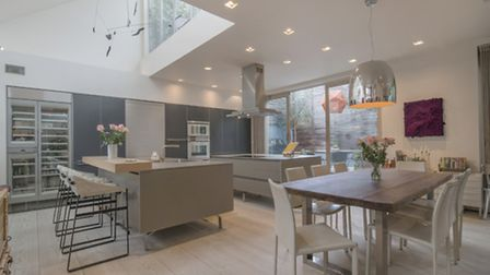 The large kitchen has space for two islands