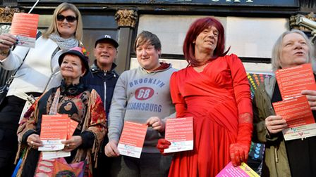 """""""We Are The Black Cap"""" vigil outside The Black Cap Camden High St London NW1 on 31.10.15. Frm left,"""