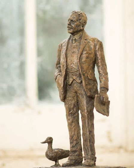 The statue of Sir Nigel Gresley, before the duck was removed. Picture: Andy Fallon
