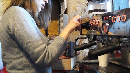 Earning the London Living Wage: A barista at BL_NK in Curtain Road (Picture: Valerie Browne)