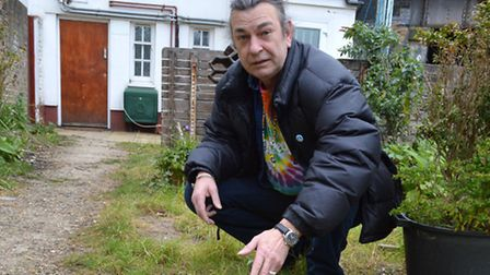 Priory Urban Green Space after most of their Portland Stone borders were stolen. Resident John Goodm