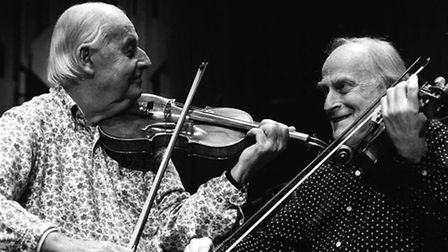 File photo dated 26.01.88: Legendary Jazz Violinist Stephan Grappelli and Sir Yehudi Menuhin on stag