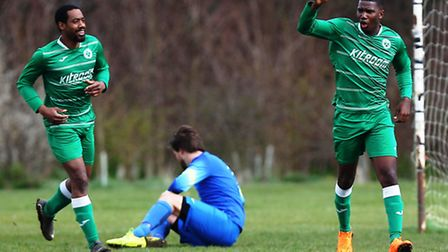 Ricky Price (right) celebrates putting Boston Celtics ahead in their 4-3 win over Regent's Park Rove