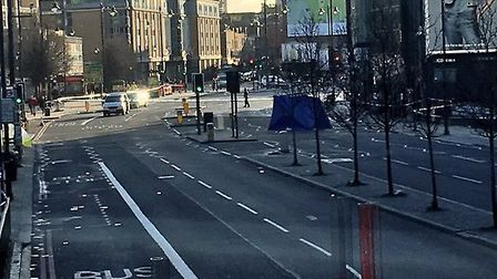 A blue tent was set up at the scene. Picture: Paddy Wagstaff