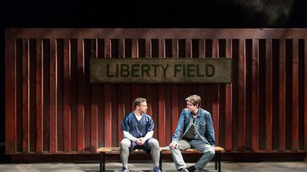 Warren Brown and Tom Burke in Reasons to be Happy at Hampstead Theatre. Picture: Manuel Harlan