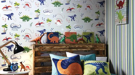 Budding scientists will love this fun dino-themed wallpaper. Arthouse Dino Doodles Multi Wallpaper,