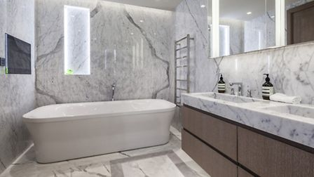 The master bathroom includes a plasma TV you can watch in the bath