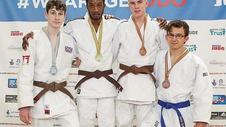 Johnnie Grant (second from left) with fellow competitors at the British Schools Championships
