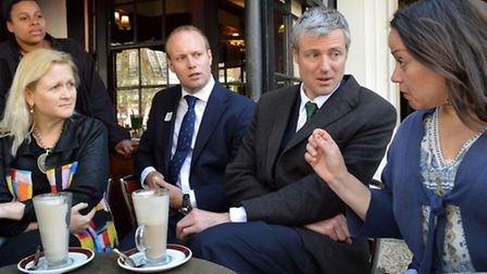 London mayoral hopeful Zac Goldsmith meets local residents at the Coffee Cup in Hampstead