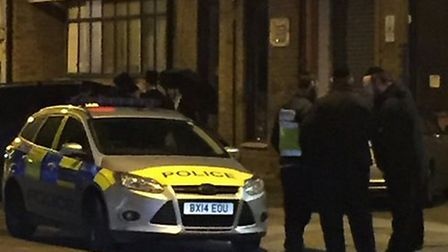Police at the scene in Manor Road on Sunday night. Picture: @Shomrim
