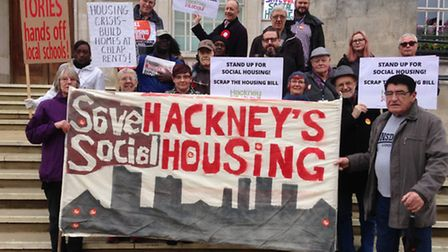 Campaigners holding a vigil for social housing at Hackney Town Hall on Friday