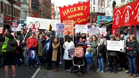 Hackney campaigners march last month